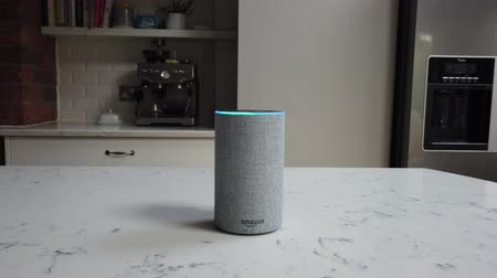 tüketici : LONDON, UK - October 29th 2019: Amazon Echo 2nd generation device with Alexa voice recognition service Stok Video