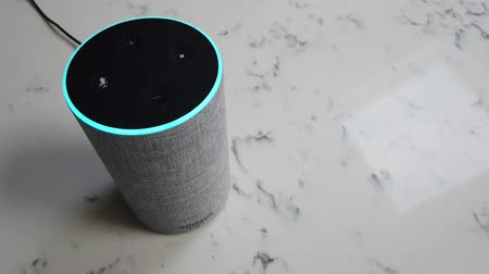 speaker : LONDON, UK - October 29th 2019: Amazon Echo 2nd generation device with Alexa voice recognition service Stock Footage