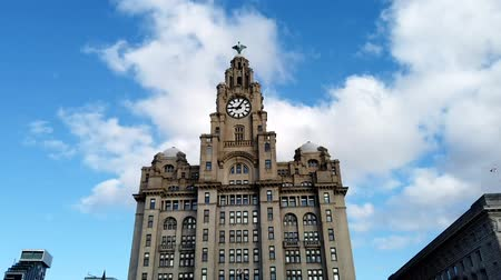zegar : Liverpool, UK - October 30 2019: Timelapse of the iconic Royal Liver Building in Liverpool, UK
