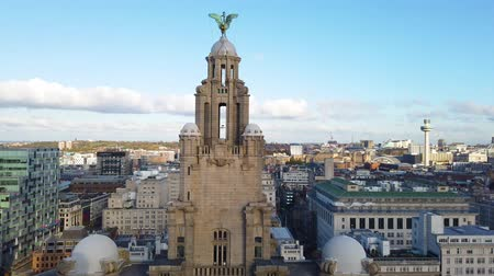 bretanha : Liverpool, UK - October 30 2019: High aerial view of the Royal Liver Building and Liverpool City skyline