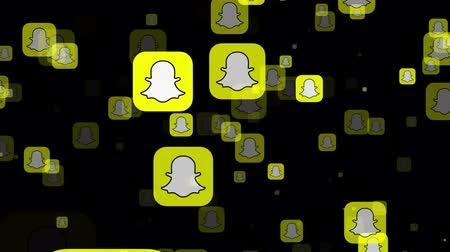 ilustrativo : LONDON, UK - February 26th 2019: Snapchat socialmedia logo fly through animation
