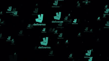 dividir : LONDON, UK - February 26th 2019: Deliveroo service logo fly through animation