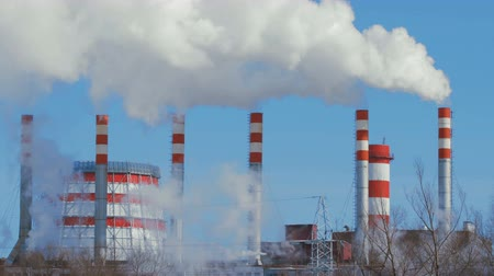 building heat : 4K Timelapse Industrial smoking power plant