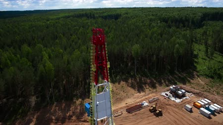 oliwa : Aerial view of the oil gas drilling tower in forest