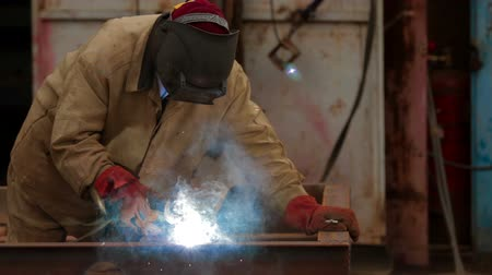 fire facilities : Welding in a industrial factory Stock Footage