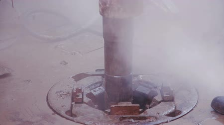 rigs : Drill pipe rotating in the rotary table Stock Footage