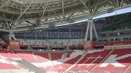 camera move : Russia, Kazan - May 18, 2018: Chairs in Kazan Arena stadium Fifa world cup