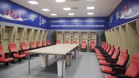 camera move : Russia, Kazan - May 18, 2018: Locker room in Kazan Arena stadium Fifa world cup Stock Footage