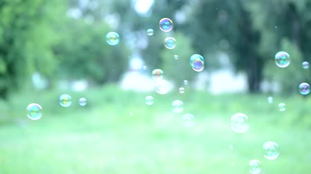 freshness background : Soap bubbles floating around shooting with high speed camera