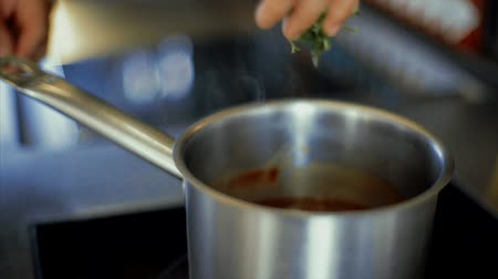 Boiling pan on the burner Stock Footage