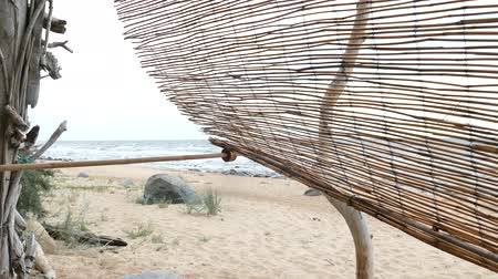 driftwood : Improvised driftwood Beach shelter hut at sandy seaside