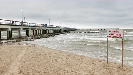 Pedestrian Sea Pier in Palanga during storm time