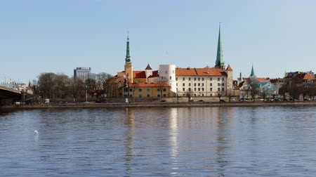 Riga Old Town Skyline seen over river Daugava