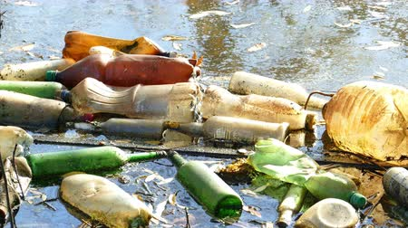 úpadek : Floating Plastic bottles in a polluted pond water