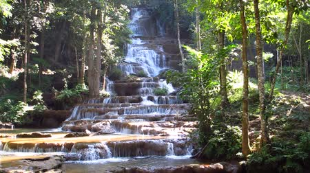 floresta tropical : waterfall in national park, Tak province, Thailand. Stock Footage