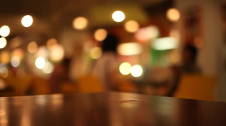 blur : table at restaurant blurred background Stock Footage
