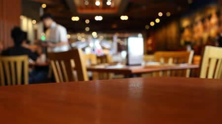 food court : Table at restaurant blurred background