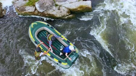 republic of srpska : Crane shot of rafting on a wild river
