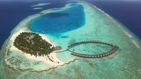 barriers : Aerial shot Island atoll of Maldives, Top View of Maldives Island, Aerial view of Green Island reef