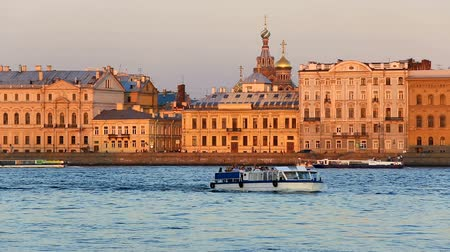 winter palace : Domes of Church of Saviour on Blood, Novomikhaylovsky Palace, Neva riverfront