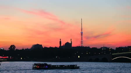 vasilevsky : Silhouette of Saint-Petersburg Cathedral Mosque and television tower
