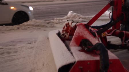 swabber : special vehicle cleans the pavement during a snowfall on Sretensky Boulevard Stock Footage