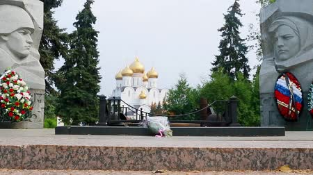 guerrilla : Memorial monument Eternal Flame in Yaroslavl on boulevard of the Peace