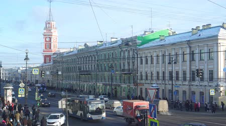 nevsky : View of Nevsky Prospekt and Dumskaya bashnya and Gostiny Dvor. Winter sunny day