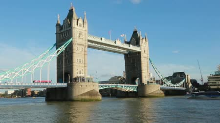 Daylight Establishing Shot London Iconic Landmark Tower Bridge. river transport