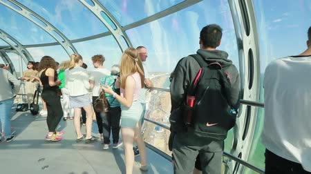 Cityscape from capsule of the British Airways i360 observation tower in Brighton Стоковые видеозаписи