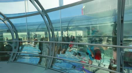 Inside a capsule of the British Airways i360 observation tower in Brighton