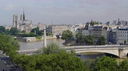 boat tour : Aerial view of Notre Dame in Paris, Tournelle Bridge, statue of St. Genevieve