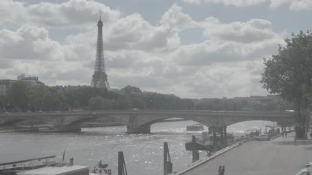 View of Eifel tower, American Church in Paris, Invalides Bridge, pleasure boat Стоковые видеозаписи