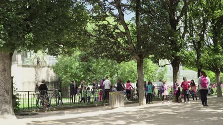 scholar : Adults and children in the Botanical garden near the greenhouse in Paris Stock Footage