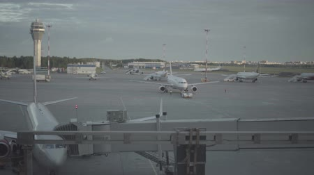 dragging : Luggage loading track at the Pulkovo airport in Saint-Petersburg Stock Footage