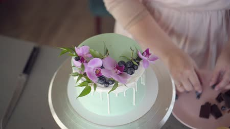 blueberry cheesecake : Wedding, festive, birthday biscuit cake decorated with pink orchid and blueberry