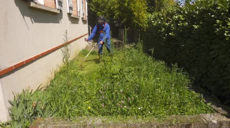 berendezés : Works of trimming of grass in a garden.