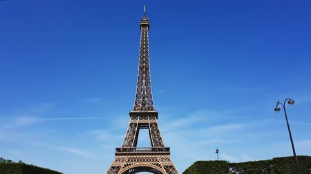 The Eiffel tower against the sky.