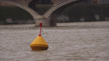 Buoy and seagull in rough water on the background of the old bridge.