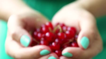 красная смородина : A girl in a green dress holds in her hands a red ripe currant on a pink background. Summer berry concept. Healthy eatingSummer berry concept. Healthy eating