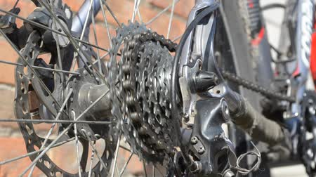 New cassette with gears and chain on the rear wheel of old gray bike, new transmission in the work Stok Video