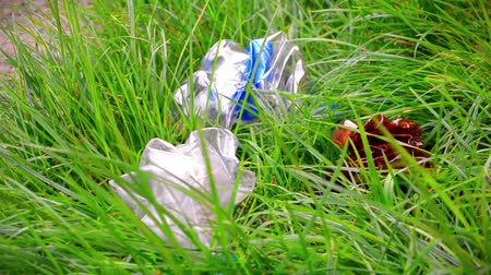 Plastic bottles, garbage in the grass Stock mozgókép