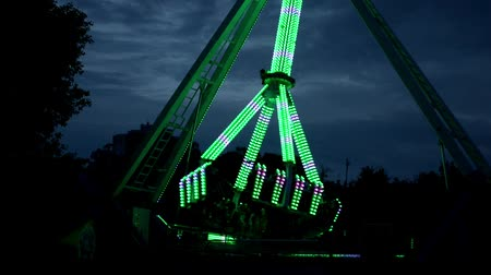 карусель : Extreme attraction in amusement park, change colors, ready to go