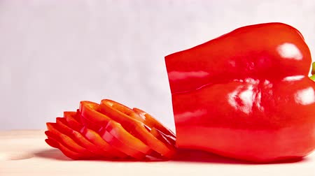 alfa : sliced and falling red pepper - stop motion animation and timelapse Stock Footage