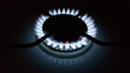 fogão : Blue gas fire of the kitchen stove Stock Footage