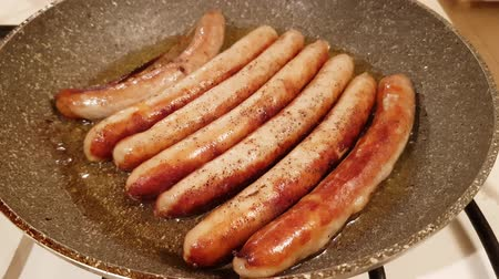 Appetizing ruddy juicy sausages