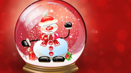 kardan adam : Christmas background. Animation of Snowman happy waving inside of snow globe. Crystal snowball against red background and falling snow