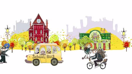 okula geri : Back to school background. Autumn city view with scholars and school busses rushing through the street