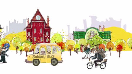 okula geri : Back to school background. Autumn city view with scholars and school buss rushing through the street