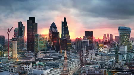urban skyline : London, sunset. City of London view business and banking aria Stock Footage